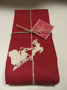 New With Tag Pottery Barn Sleigh Bell Crewel Embroidered Napkin Set Of 4