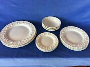 Wedgwood Embossed Queensware Cream/cream Grapes Shell Edge 14-piece Mixed Lot