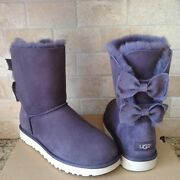 Ugg Meilani Double Bailey Bow Nightfall Suede Wool Short Boots Size Us 7 Womens