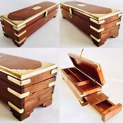 """Beautifully Handcrafted Wood And Brass Indian 11""""/27cm Incense Box / Pencil Box"""