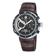 Cccp Akula Chronograph Date Brown Leather Strap Menand039s Watch Cp-7005-01 New