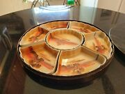 1940s Japanese Hand Painted Condiment Sushi Tray In Original Wood Box
