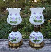 Vntg 60s Pair Milk Glass Table Lamp Lamps Night Light Violets In The Snow Rare