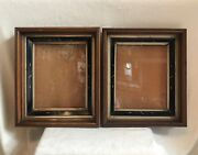 Set Of 2 Pair Antique Victorian Mahogany Shadow Box Picture Frames