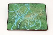 Vintage Abstract Rectangle Turquoise Blue Enamel Solid Copper Brooch