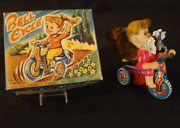 Vin Suzuki Tin Wind Up Celluloid Cycle Toy Girl Made In Japan In Box Tin Toy Lot