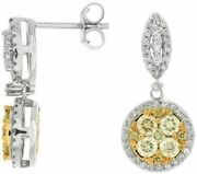Estate 1.20ct White And Fancy Yellow Diamond 14kt White Gold 3d Cluster Earrings