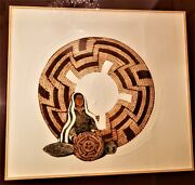 Sue Krause Original Pencil Signed Color Etching W/ Embossing Pima Woman's Basket