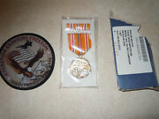 Navy Asiatic-pacific Campaign Medal And Lapel Pin Bar In Box Plus Operation Patch.