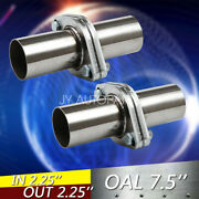 Pair 2pcs 2.25 Od Universal Quickfix Exhaust Triangle Flange Repair Pipe Kit