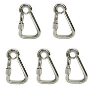 5pc 5/16and039and039 Marine Stainless Steel Carabiner Spring Snap Hook W/ Eyelet+screw Nut