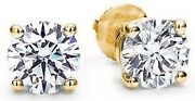 1.02 Carat Round Diamond Studs 18k Yellow Gold Basket Style Earrings H Color Vs1