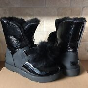 Ugg Isley Patent Leather Black Waterproof Pom Pom Short Boots Size Us 8 Womens