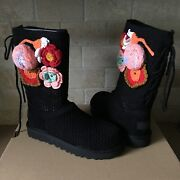 Ugg Classic Crochet Knit Black Floral Flowers Short Boots Size Us 7 Womens