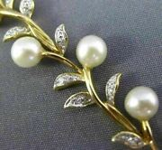Estate Wide And Long .25ct Diamond And Aaa South Sea Pearl 14kt Yellow Gold Bracelet