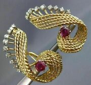 Antique Large 2.60ct Diamond And Aaa Ruby 18k 2 Tone Gold 3d Leaf Clip On Earrings