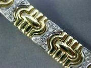 Antique Wide 1.98ct Diamond 14kt White And Yellow Gold 3d Puzzle Bracelet 19715