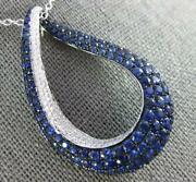 Large 1.40ct Diamond And Aaa Sapphire 18kt White Gold Tear Drop Love Knot Pendant
