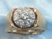 Vintage 14k Yellow Gold Ring 4mm And 6 3.5mm Diamonds Tcw 1.25 Carat Size 13.5