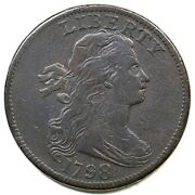 1798 S-147 R-5- 1st Hair Draped Bust Large Cent Coin 1c