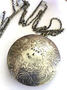 Antique Reed And Barton Silver Plated Floral Compact Mirror Powder Make Up + Chain