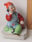 Boy With Phone Chinese Porcelain Figurine Figure Old China