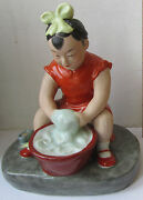 Laundry Girl Porcelain Chinese Figurine Figure Old China Cultural Revolution