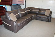 Sisi Italia Victor 3 Brown Leather And Fabric Corner Suite. Reversible Cushions