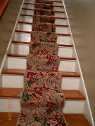 Extra Long Antique French Rose/floral Scroll 19 Feet Rug/runner Nos