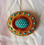 English Victorian 15k Yellow Gold Turquoise Brooch Circa 1850's