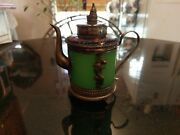 Antique Asian Carved Jade And Silver Mini Tea Pot