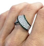 Womenand039s 18k White Gold Diamond And Emerald Wide Fancy Band