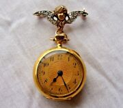 Victorian 14k Yellow Gold Open Face Pocket Watch With Cherub Chatelain Pin