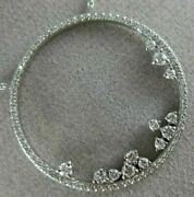 Estate Large .68ct Diamond 18kt White Gold Circle Of Life Floating Love Necklace