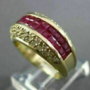 Estate Wide 2.90ct Diamond And Aaa Square Cut Ruby 14kt Yellow Gold Ring 23007