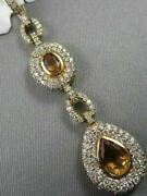 Antique 3.44ct Diamond And Aaa Extra Facet Citrine 14k Yellow Gold 3d Pear Pendant