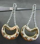 Estate 1.20ct Diamond 14kt White And Yellow Gold 3d Etoile Moon Hanging Earrings