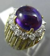 Antique Large 8.34ct Diamond And Aaa Amethyst 18k Two Tone Gold 3d Oval Ring 2624