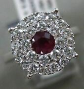Estate Large 1.0ct Diamond And Aaa Ruby 14k White Gold 3d Filigree Engagement Ring