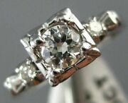 Antique .40ct Old Mine Diamond 18kt White Gold Solitaire Engagement Ring 21616