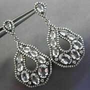 Estate Large .81ct Diamond And White Sapphire 14kt White Gold 3d Hanging Earrings