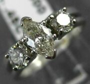 Antique Wide .95ct Marquise And Round Diamond 14k White Gold Engagement Ring 18478