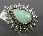 Antique Large 3.45ct Old Mine Diamond And Opal 14kt White Gold Tear Drop Ring 820