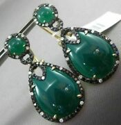 Estate Large 1.15ct Diamond And Green Agate 14k Yellow Gold 3d Pear Shape Earrings