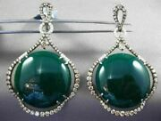 Antique Massive 54.90ct Fancy Diamond And Agate 14k White And Black Gold 3d Earrings