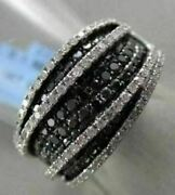 Estate Wide 14kt 1.60ct White And Black Diamond Pave Cocktail Ring One Of A Kind