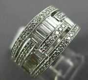 Wide 1.45ct Round And Baguette Diamond 14k White Gold Multi Row Wedding Ring 1616