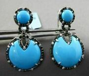 Antique Large 13.1ct Multi Color Diamond And Aaa Turquoise 14k White Gold Earrings
