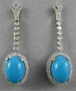Estate 1.40ct Diamond And Turquoise 14k White Gold Filigree Hanging Earrings 20409