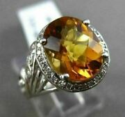Antique Large 3.52ctw Diamond And Aaa Citrine 14kt White Gold Floral Filigree Ring